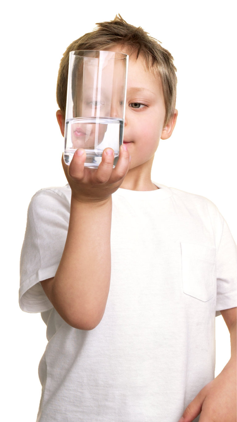 boy with water glass